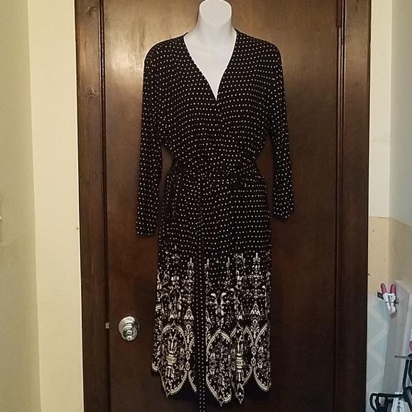 9a2e42831fc4 MSK Women Black Cream Polka Dot Faux Wrap Dress. M_5b4a8906bb761573b244d712